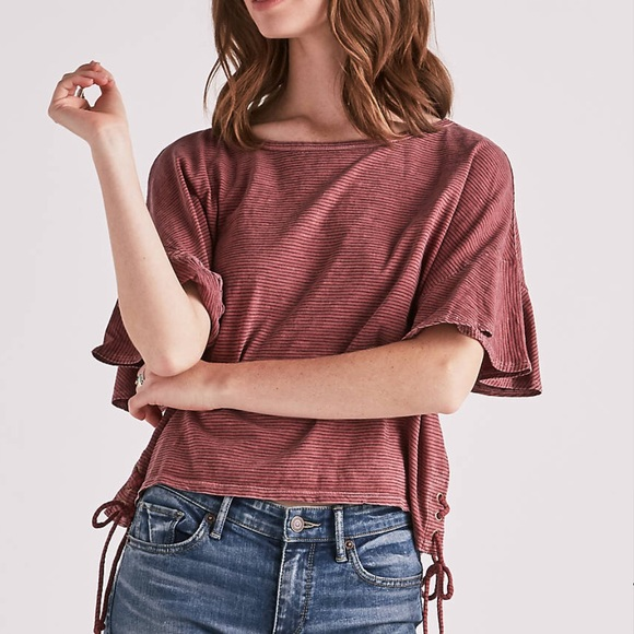 1f2f4db6 Lucky Brand Tops | Stripe Lace Up Ruffle Tee | Poshmark